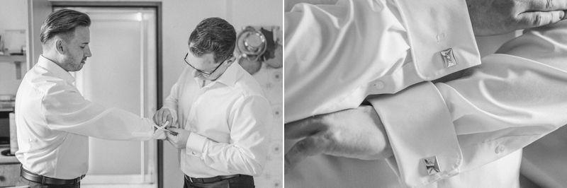 hochzeitsfotograf kaernten, bojan und roman, ein gleichgeschlechtliches paar bei der vorbereitung für die kirchliche trauung beim anziehen