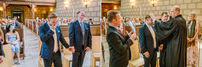 hochzeitsfotograf kaernten, bojan und roman, ein gleichgeschlechtliches paar beim der trauung in der johanneskirchein klagenfurt