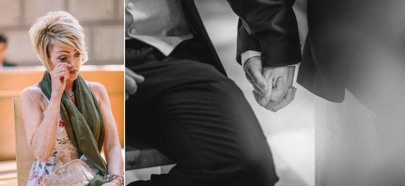 hochzeitsfotograf kaernten, bojan und roman, ein gleichgeschlechtliches paar beim der trauung in der johanneskirchein klagenfurt, tränen