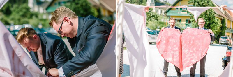 hochzeitsfotograf kaernten, bojan und roman, ein gleichgeschlechtliches paar vor der feier im Gasthaus