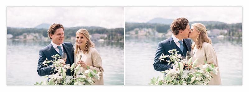 Ute und Thomas beim Anstossen auf die Hochzeit, Thomas küsst Ute, von Perlmutt Pictures, Walter Szalay